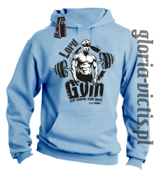 Lord GYM Stop Wishing Start Doing - Bluza męska z kapturem - blękitna